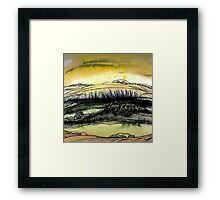 Summer.Hand draw  ink and pen, Watercolor, on textured paper Framed Print