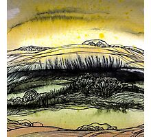 Summer.Hand draw  ink and pen, Watercolor, on textured paper Photographic Print
