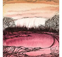 Springtime.Hand draw  ink and pen, Watercolor, on textured paper Photographic Print