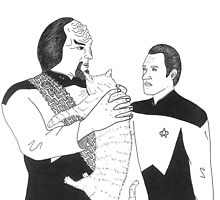 Worf, Spot and Data by klingonfeminist