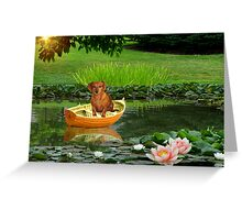 Rusty Takes A Little Boat Ride Greeting Card