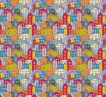 Cityscape seamless pattern. Sketch.  by EkaterinaP