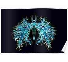 Fantasy Insect, Teal Moth Poster