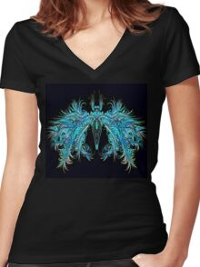 Fantasy Insect, Teal Moth Women's Fitted V-Neck T-Shirt