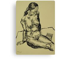 Reading naked woman Canvas Print