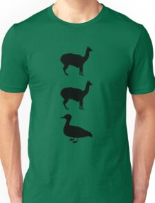 Llamas N Ducks Black Unisex T-Shirt