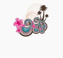 Tropical Waves & Pink Hibiscus T-Shirt