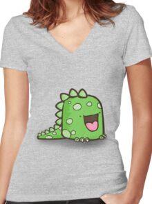 Dinocute Women's Fitted V-Neck T-Shirt