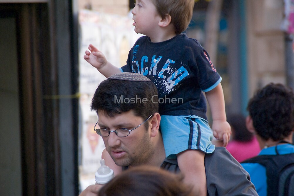 On daddy's shoulders by Moshe Cohen