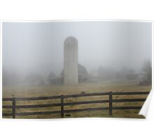 Foggy Morning on the Farm Poster