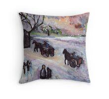 Countryside snowscene Throw Pillow