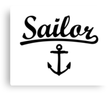 Sailor Anchor Black Canvas Print