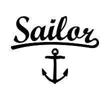 Sailor Anchor Black Photographic Print