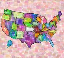 America map in water color by rubina