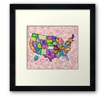 America map in water color Framed Print