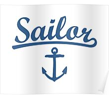 Sailor Anchor Navy Poster