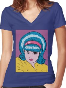 Miss Lacey Noel Design No. 1! (Bouffant) Women's Fitted V-Neck T-Shirt