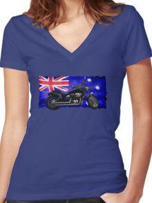 Australian Downunder Flag, Motorcycle Biker Design Women's Fitted V-Neck T-Shirt