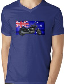 Australian Downunder Flag, Motorcycle Biker Design Mens V-Neck T-Shirt