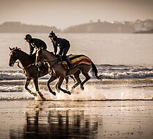 Horse Riders on Amroth Beach by Simon West