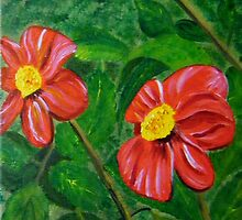 Red Flowers by Connie  Danaher