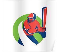 Cricket Player Batsman Batting Retro Poster