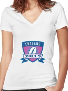 Rugby Ball England 2015 Shield Retro Women's Fitted V-Neck T-Shirt