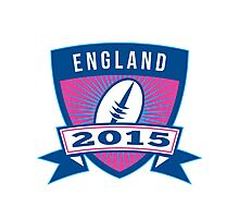Rugby Ball England 2015 Shield Retro Photographic Print