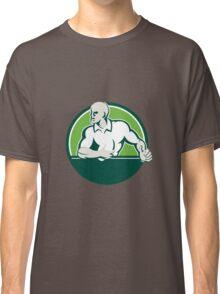 Rugby Player Running Ball Circle Retro Classic T-Shirt