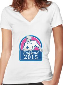 Rugby Player Running Ball England 2015 Retro Women's Fitted V-Neck T-Shirt