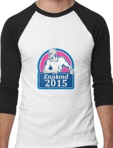 Rugby Player Running Ball England 2015 Retro Men's Baseball ¾ T-Shirt