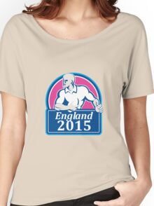 Rugby Player Running Ball England 2015 Retro Women's Relaxed Fit T-Shirt