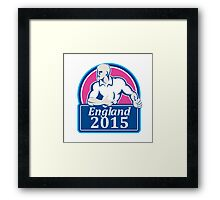 Rugby Player Running Ball England 2015 Retro Framed Print