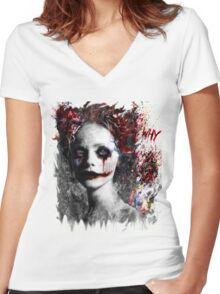 Harley Quinns valentines day Women's Fitted V-Neck T-Shirt