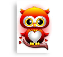 Baby Owl Love Heart Cartoon  Canvas Print