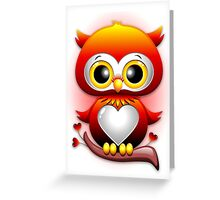 Baby Owl Love Heart Cartoon  Greeting Card