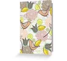Pink Floral Potpourri Garden & Birds Greeting Card
