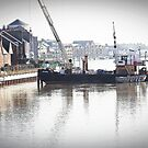 Working on the Flood  Barrier at Littlehampton by Malcolm Chant
