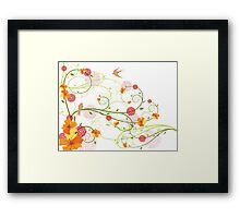 Yellow Hibiscus Swirls & Birds Framed Print