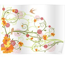 Yellow Hibiscus Swirls & Birds Poster