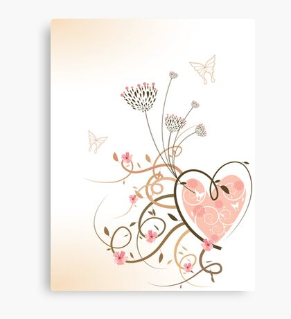 Pink Heart and Floral Swirls Canvas Print