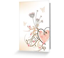 Pink Heart & Floral Swirls Greeting Card