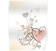 Pink Heart and Floral Swirls Poster