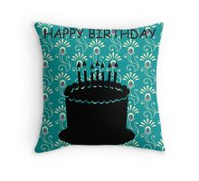 Happy Birthday Peacock Cake Throw Pillow