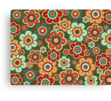 Retro Pop Red and Green Daisies Canvas Print
