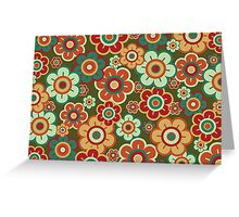 Retro Pop Red and Green Daisies Greeting Card