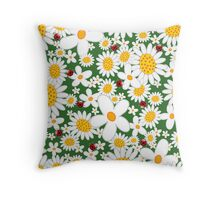 Whimsical Summer White Daisies & Red Ladybugs Throw Pillow