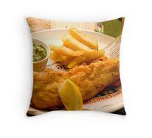 Fish, Chips and Mushy Peas Throw Pillow