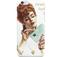 Beautiful Young Woman Holding Love Letter Vintage Vector iPhone Case/Skin