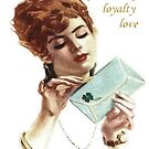 Beautiful Young Woman Holding Love Letter Vintage Vector by taiche